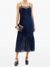 FENDI Tulle-trimmed devoré-velvet dress ~ navy-blue spaghetti strap dresses