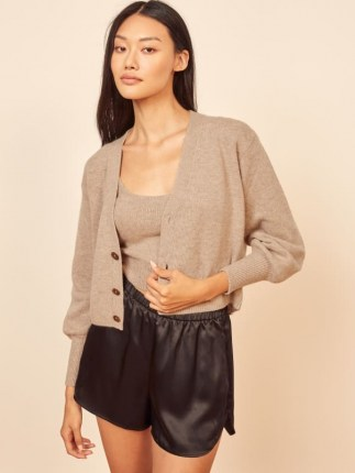 Reformation Varenne Cashmere Tank And Cardi Set | neutral knitted top and cardigan sets | cardigans | knitwear - flipped