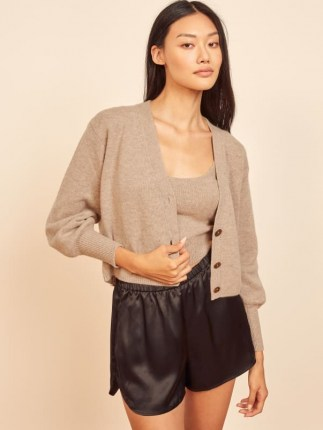 Reformation Varenne Cashmere Tank And Cardi Set | neutral knitted top and cardigan sets | cardigans | knitwear