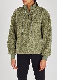 VARLEY Berea half-zip faux shearling sweatshirt ~ green textured sweatshirts