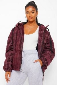 boohoo Velvet Check Puffer Jacket in Wine ~ checked winter jackets