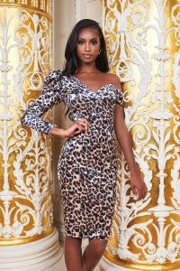 LAVISH ALICE velvet statement shoulder midi dress in leopard print ~ wild animal prints ~ party glamour ~ glamorous evening dresses
