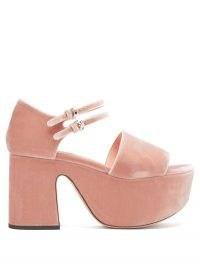 Chunky pink platforms ~ ROCHAS Velvet-faced leather platform sandals