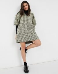 Vero Moda quilted smock mini dress in check print