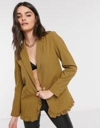 Vila blazer with frill detail hem in olive