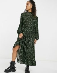 Vintage Supply maxi smock dress with tie neck in green smudge print / retro relaxed fit frill hem dresses / spot – splodge prints
