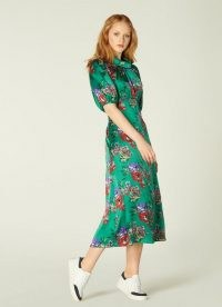 L.K. BENNETT VITA GREEN FLORAL PRINT SILK MIDI DRESS / jewel tone dresses