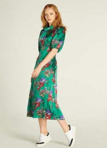 L.K. BENNETT VITA GREEN FLORAL PRINT SILK MIDI DRESS / jewel tone dresses - flipped