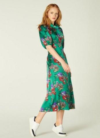 L.K. BENNETT VITA GREEN FLORAL PRINT SILK MIDI DRESS / jewel tone dresses
