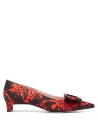 EMILIA WICKSTEAD Viviene buckle point-toe floral-brocade pumps / black and red flower print courts / kitten heel court shoes