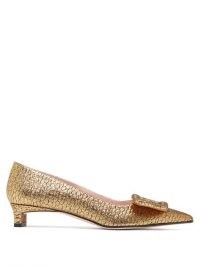 EMILIA WICKSTEAD Viviene buckle point-toe lamé-jacquard pumps in gold / shimmering low heel evening shoes