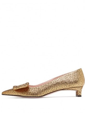 EMILIA WICKSTEAD Viviene buckle point-toe lamé-jacquard pumps in gold / shimmering low heel evening shoes - flipped