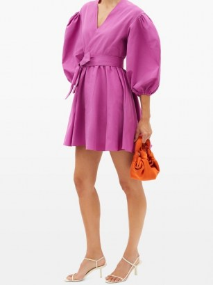 VALENTINO V-neck puff-sleeve cotton-blend faille mini dress – bright magenta-pink balloon sleeve dresses - flipped
