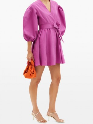 VALENTINO V-neck puff-sleeve cotton-blend faille mini dress – bright magenta-pink balloon sleeve dresses