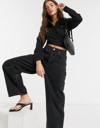 Weekday Willis organic cotton denim wrap shirt in washed black – stylish and cool