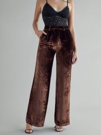 REFORMATION Wes Pant in Chestnut ~ brown wide leg trousers