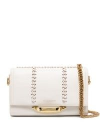 Alexander McQueen The Story white-leather shoulder bag ~ chain strap flap bags