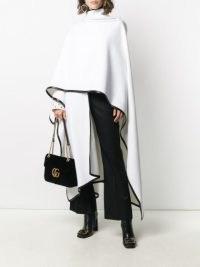 Balmain white wool cape with black trim ~ designer capes ~ chic outerwear