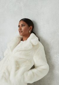 Missguided white faux fur collar coat ~ luxe style winter jackets