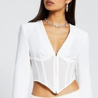 River Island White long sleeve corset mesh top | fitted crop tops | going out fashion