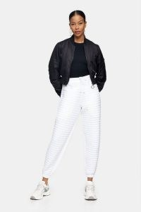 TOPSHOP White Quilted Joggers ~ cool casual looks ~ sporty look trousers