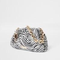 River Island White zebra print chunky chain ruched handbag | monochrome animal prints | striped bags