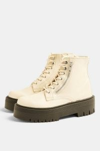 Topshop WIDE FIT BRAVE Ecru Chunky Lace Up Unit Boots