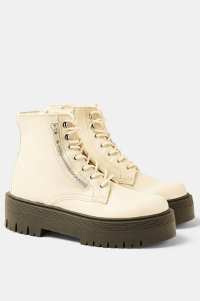 Topshop WIDE FIT BRAVE Ecru Chunky Lace Up Unit Boots - flipped