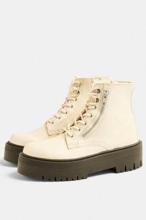 Topshop WIDE FIT BRAVE Ecru Chunky Lace Up Unit Boots