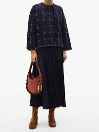 CHLOÉ Windowpane-check wool-blend cropped jacket / checked jackets