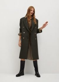 MANGO Santi wool double-breasted coat / khaki green structured coats