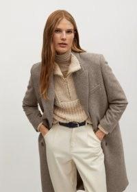 MANGO Blacky wool double-breasted coat in coffe / smart midi length coats