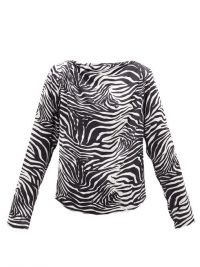 GAUGE81 Yamagata draped zebra-print silk blouse – mono animal prints – tops and blouses
