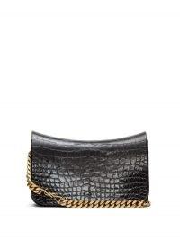 SAINT LAURENT YSL-plaque crocodile-effect leather shoulder bag / black croc embossed bags