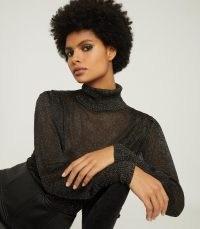 REISS ZENA METALLIC SEMI-SHEER ROLL NECK GOLD ~ luxe knitwear ~ fine knits