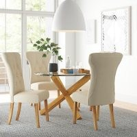 Juniper Dining Set with 4 Chairs by Zipcode Design – contemporary set – glass and wood for a natural and brightening aesthetic – modern design