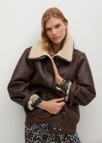 MANGO ATLANTA Faux shearling aviator jacket / brown casual fur lined winter jackets