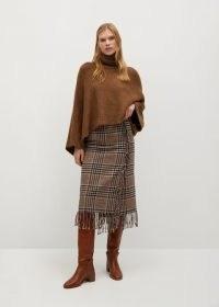 MANGO RANCHO Checked fringed skirt / brown check print skirts