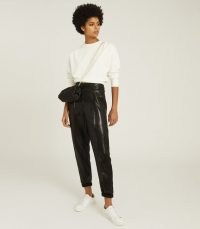 REISS ABBY HIGH WAISTED SHIMMER TROUSERS BLACK – sports luxe pants – casual glamour
