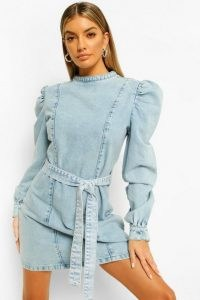 boohoo Acid Wash Tie Waist Denim Dress | casual puff sleeve dresses