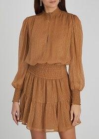 A.L.C. Silvie lamé-weave plissé chiffon dress – metallic thread occasion dresses – evening glamour