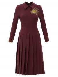 DUNCAN Alchemist Bleeding Heart beaded wool-blend dress ~ pleated drop waist dresses ~ burgundy winter clothing