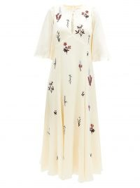 ERDEM Alcie beaded and embroidered silk-satin dress ~ slinky wide sleeve dresses ~ floral vintage style fashion