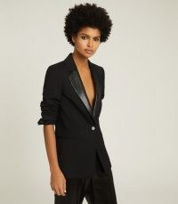REISS ALEXIA SEQUIN TRIMMED WOOL BLEND BLAZER BLACK – women's evening blazers – sequinned occasion jackets