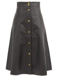 VIKA 2.0 A-line topstitched faux-leather skirt – black eco-conscious skirts