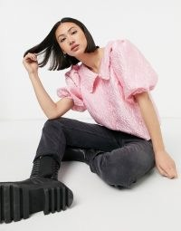 & Other Stories jacquard collar detail top in pink | puff sleeve blouses | oversized collars