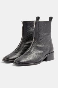 Topshop AMSTERDAM Black Zip Leather Boots | winter footwear