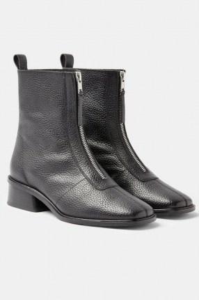 Topshop AMSTERDAM Black Zip Leather Boots | winter footwear - flipped