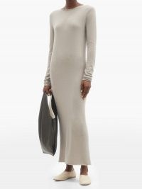 LISA YANG Anais maxi cashmere sweater dress ~ grey knitted dresses ~ effortless winter style