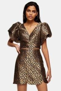 TOPSHOP Animal Print Puff Sleeve Bralet ~ brown crop top ~ party fashion